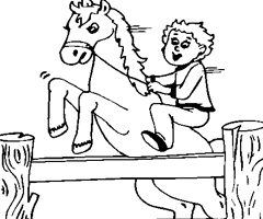 Coloriage Cheval obstacle