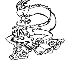 Coloriage Chinois Dragon