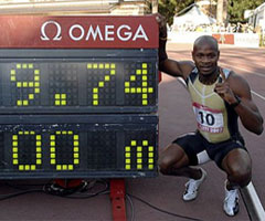 photo Asafa Powell 9.74 record du Monde 100 m