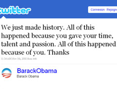 photo Barack Obama annonce son élection sur Twitter