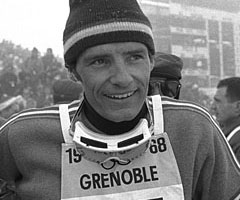 photo Jean-Claude Killy Triplé d'or aux Jeux olympiques 1968 de Grenoble