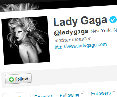 photo Lady GaGa a 9 millions de followers sur Twitter