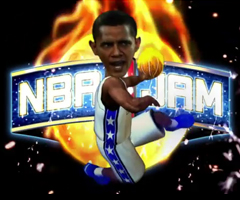 photo NBA JAM avec Obama, Bush, Palin, Cheney