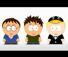 photo Parodie South Park MAC vs PC vs Linux