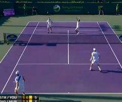 photo Plus beau point de tennis en double : Murray et Djokovic VS Stakhovsky et Youzhny au Masters de Miami