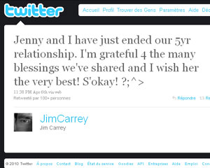 photo Rupture de Jim Carrey et Jenny McCarthy sur Twitter