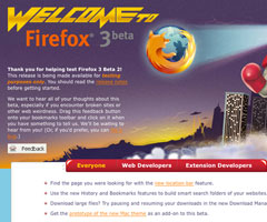 photo Sortie de Mozilla Firefox 3.0